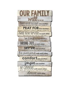 Plaque-Stacked Wood, Our Family, Large, 45017
