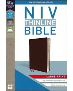 NIV, Thinline Bible, Large Print, Bonded Leather, Burgundy, Thumb Indexed