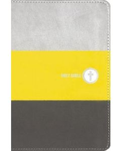 NIV  Boys' Backpack Bible  Compact  Leathersoft  Yellow/Gray  Red Letter Ed.  Comfort Print