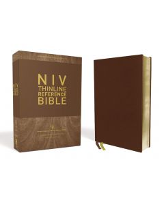 NIV Thinline Reference Bible, Large Print Genuine Leather-Buffalo Brown