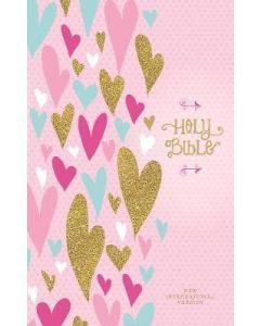 NIV Heart of Gold Bible-HC  Pink  Cft Print