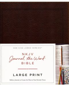 NKJV Journal the Word Bible Large Print Bonded Leather-Brown
