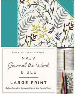 NKJV Journal the Word Bible Large Print-Cloth over Board, Blue Floral
