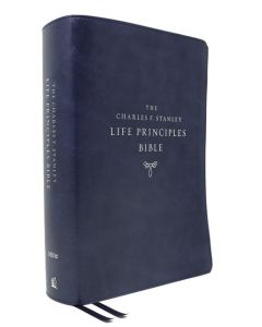NIV Charles Stanley Life Principles Leathersoft-Bue, 2nd Edn