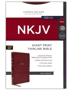 NKJV Thinline Giant Print Bible, Leathersoft-Brown