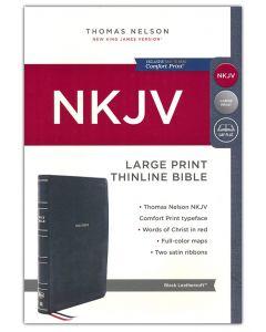 NKJV Thinline Large Print Bible Leathersoft-Black, Comfort Print