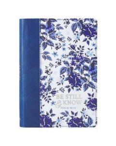 Journal FauxLtr Be Still & Know Blue Floral JL517