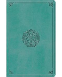 ESV Large Print Value Thinline Bible, Turquoise, Emblem Design