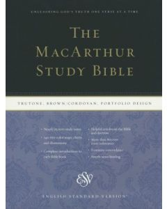 ESV MacArthur Study Bible Large Print-Brown/Cordovan