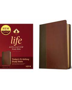 NIV Life Application Study Bible LeatherLike-Brown & Mahogany, Third Edition