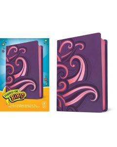 NLT Hands-On Bible LeatherLike, Purple & Pink Swirls