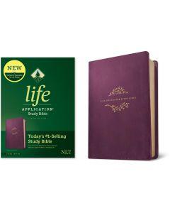 NLT Life Application Study Bible LeatherLike-Purple, Third Edition