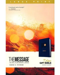 Message Deluxe Gift Bible Large Print LeatherLook-Navy