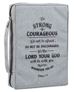 Bible Cover-Canvas, Be Strong and Courageous, Large, Gray, BBL662