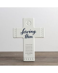 Cross (Resin):Serving Him, #91410