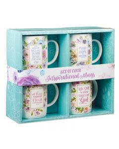 Mug:Ceramic-Set of 4, Floral Inspirations