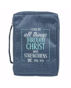 I Can Do All Things Blue Poly-Canvas Bible Cover