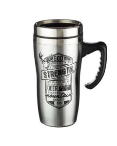 Stainless Steel Mug, God Arms Me With Strength