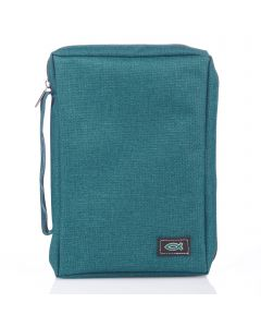 Teal Poly-Canvas Bible Cover with Fish Emblem, Small