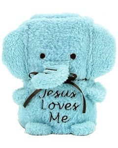 Elephant Blankie BLUE With Jesus Loves Me