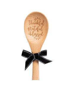 Wooden Spoon-Thankful Grateful Bless,Black