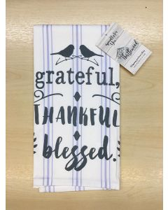 Grateful Thankful Blessed, Tea Towel
