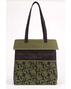 Hand Bag Canvas: FAITH Inspirational, Green