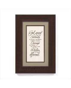 Serenity Prayer Framed Wall Art Plaque