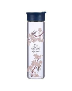It Is Well, Royal Blue, Glass Water Bottle