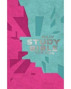 NKJV Study Bible For Kids (Pink/Teal Cover)