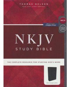 NKJV Study Bible, Bonded Leather, Black, Comfort Print