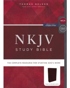 NKJV Study Bible, Bonded Leather, Burgundy, Comfort Print