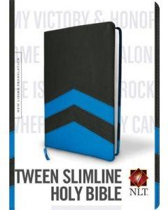 NLT Guys Slimline Bible (LeatherLike, Charcoal/Blue Chevron TuTone)