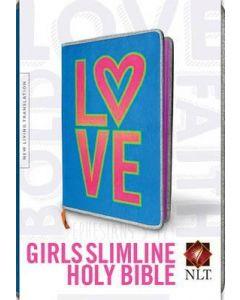 NLT Girls Slimline Bible (Plush Neon)