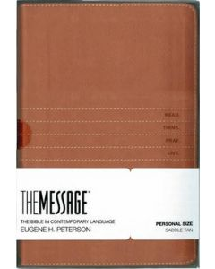 Message Personal-Size Bible, The --soft leather-look, saddle tan