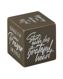 Square Quote Cubes - Inspirational - Grateful Heart Black, G4906