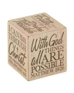 Square Quote Cubes - Inspirational - With God All Things, G4907