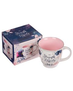 Mug Ceramic: Strength & Dignity Pink and Blue Floral