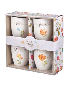 Mug Ceramic: Set of 4, Grateful and Joyful