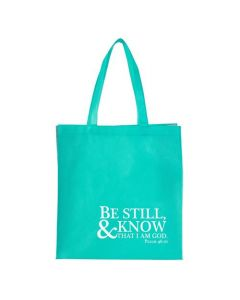 Tote Bag:Be Still and Know,Turquoise, TOT069